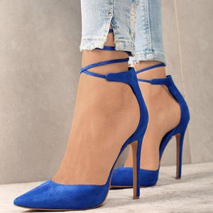 VOGELLIA Sexy Pointed Toe Ladies Shoes Thin High Heels Lace Up Women Pumps Wedding Runway Sandals Woman Shoes Zapatos Mujer
