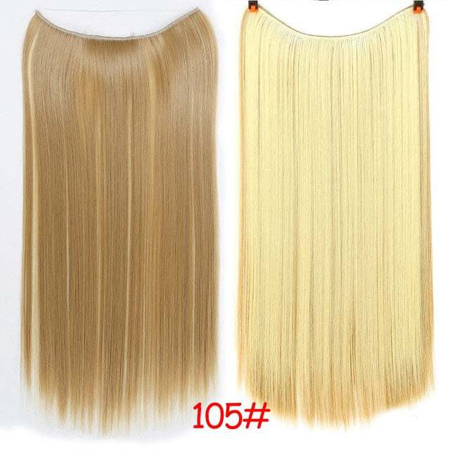 Allaosify 24 Inch Invisible Wire No Clip One Piece Halo Hair Extensions Secret Fish Line Hairpieces Wave Straight Synthetic Fake