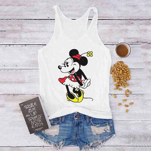 Camisole Tank Tops Women's Cartoon Mouse Print Tops Tee Shirt Female Casual Loose O-Neck Sexy White Plus Size Sleeveless Ladies