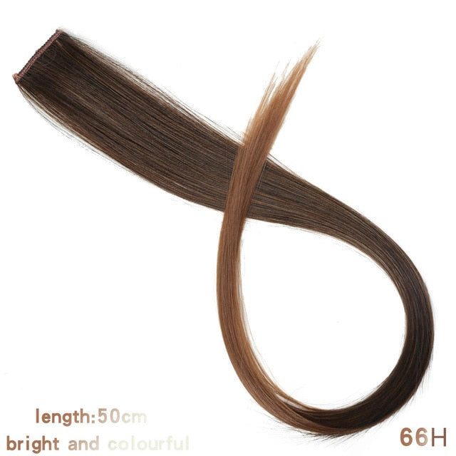 Lupu Rainbow Highlighted Hair Girl One Chip In Hair Extension Synthetic Long Straight Hair Clip Hair Clip Straight Hair