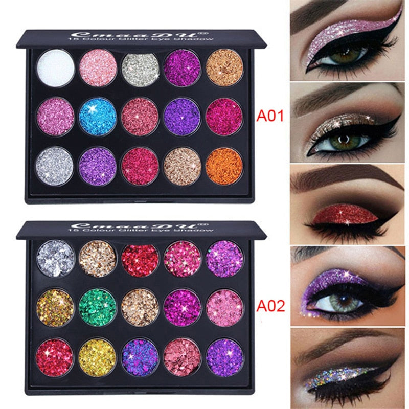 CmaaDu Diamond Glitter Eyeshadow Pallete Shimmer Eye shadow Pallete Fashion Beauty Eyes MakeUp Powder Pallete Korea Cosmetics