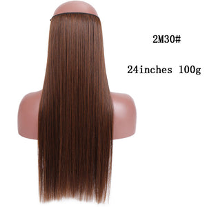 SHANGKE No Clips In Straight Hair Extensions Invisible Ombre Bayalage Synthetic Natural Flip Hidden Secret Wire Crown Grey Pink