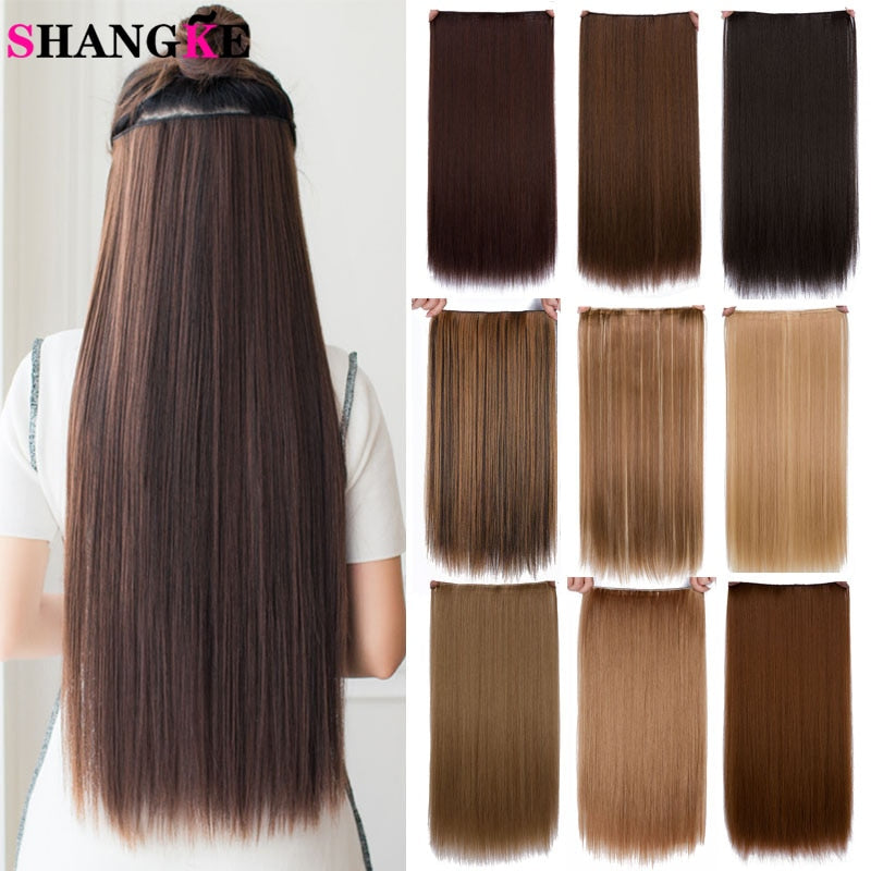 SHANGKE Hair 24'' Long Straight Women Clip in Hair Extensions Black Brown High Tempreture Synthetic Hair Piece