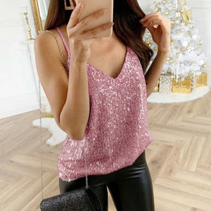 Womens tank top Sequin Glitter Strappy Tank Tops Ladies Sexy Sparkle Camis v-neck Swing Vest Clubwear party night tanks