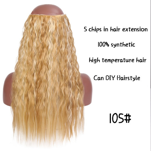 SHANGKE Long Synthetic Hair Clip In Hair Extension Heat Resistant Hairpiece Natural Wavy Hair Piece