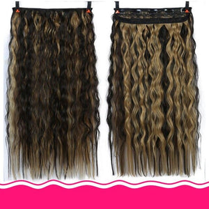 DIFEI 24 Inch 5 Clip Long curly Women Clip in Hair Extensions Black Brown High Tempreture Synthetic Hair Piece