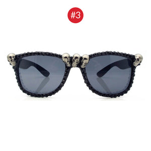VIVIBEE Women Black Skull Rhinestone Halloween Sunglasses 2020 Trend Gorgeous Cat Eye Sun Glasses for Ladies Round Gothic Shades