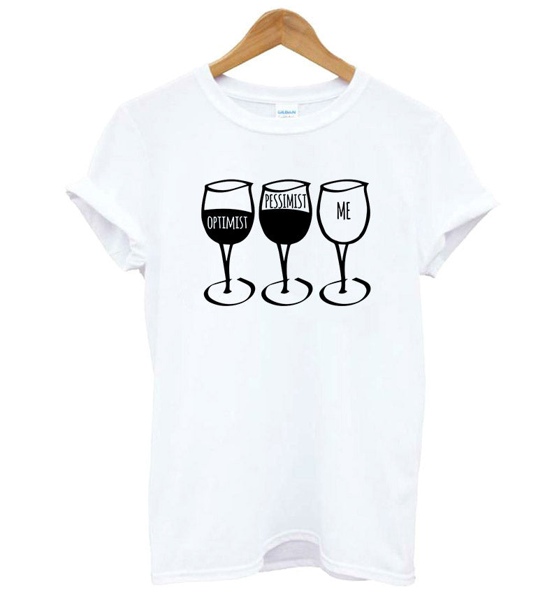 Optimist Pessimist Me WINE Womens T-Shirt