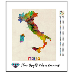 Italy Watercolor Map