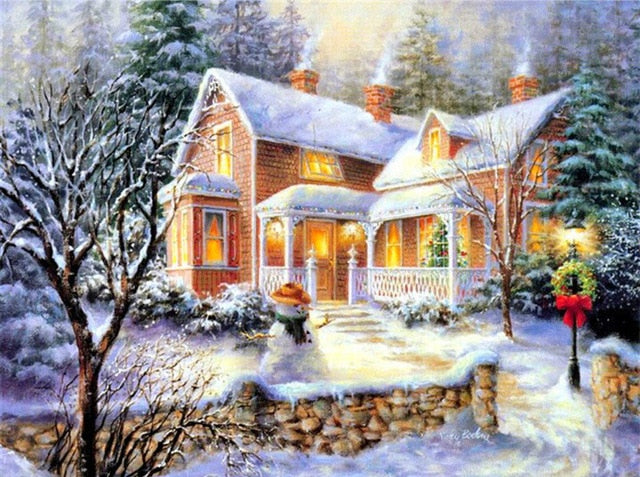 Winter, House And Snowman