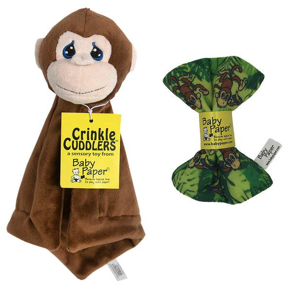 Monkey Crinkle Cuddler with Matching Baby Paper Gift Set