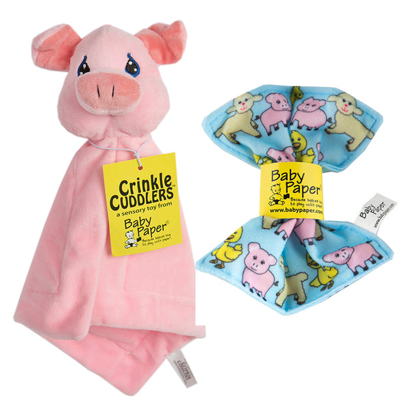 Pig Crinkle Cuddler with Matching Baby Paper Gift Set