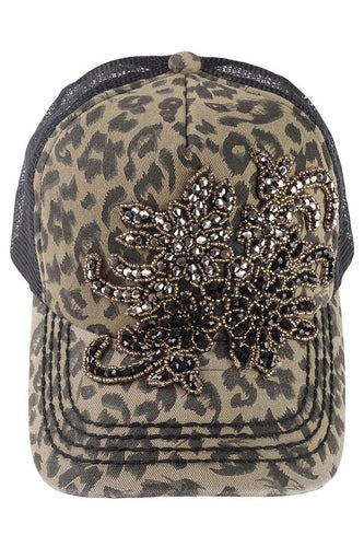 Paisly Bling Floral Trucker Hat by Olive & Pique