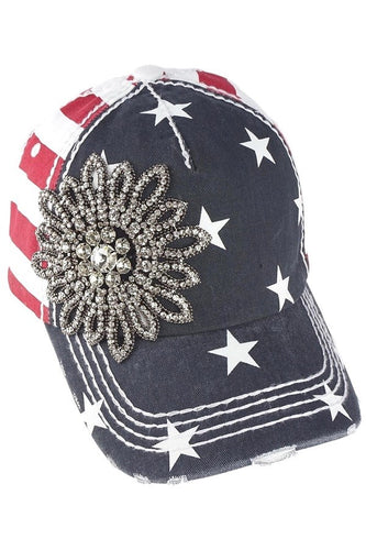 Rhinestone Gunmetal Flower USA Distressed Baseball Cap by Olive & Pique