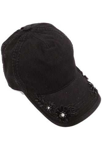 Floral Glitz Embroidery on Bill Ponytail Baseball Cap by Olive & Pique