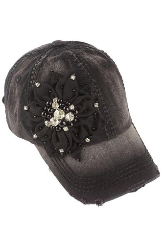 Bling Flower Baseball Cap by Olive & Pique