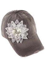 Load image into Gallery viewer, Bling Flower Baseball Cap by Olive & Pique