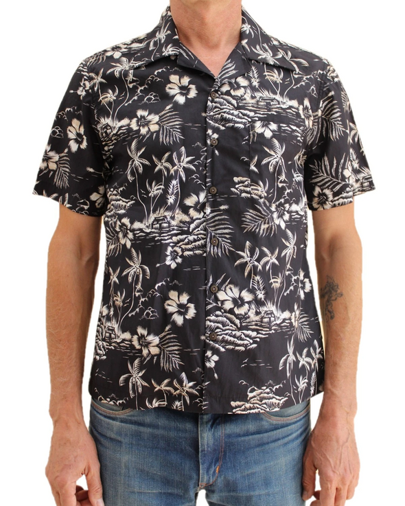 The Wrench Open Collared s/s Cotton Lawn - Black Flower Aloha