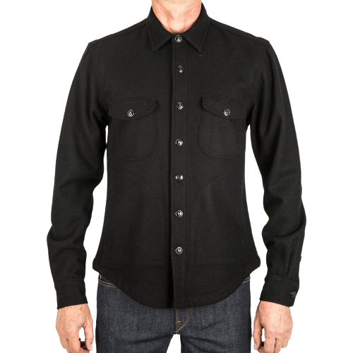 The Anvil Shirt Jacket Heavy Melton - Black