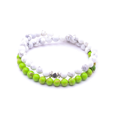 Shackles Co. - Sea Sediment Jasper & Thai Silver - White/Neon Green