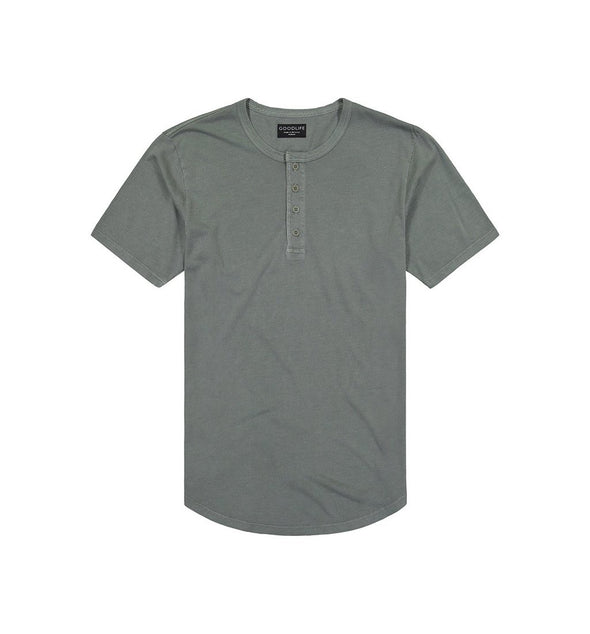 Goodlife - Sun Faded Scallop Henley - Laurel