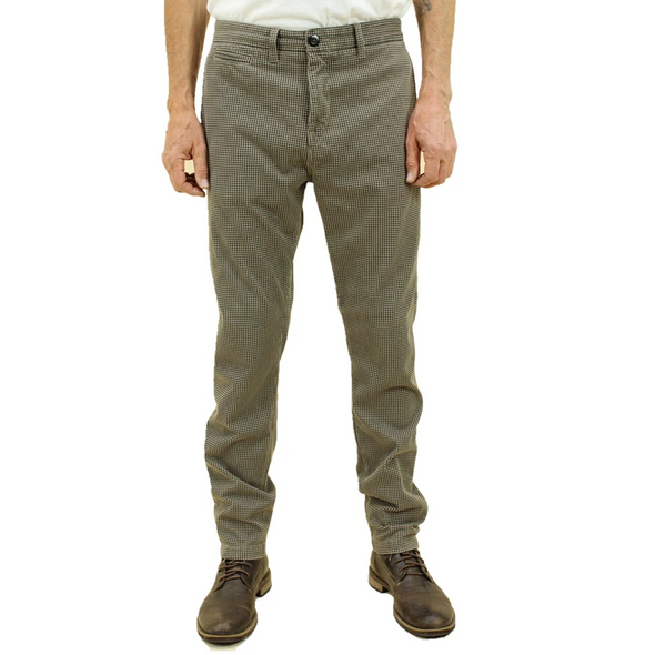 The Axe Slim Beige Hounds Tooth Denit Slim Chino
