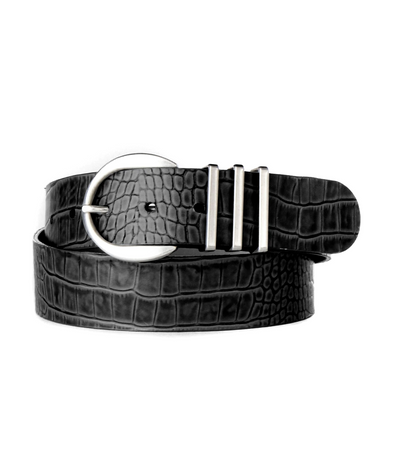 Brave- Kiku Belt- Embossed Black Barcelona Silver Hardware