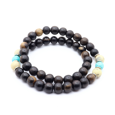 Shackles Co. - Tiger Ebony, African Opal & Thai Silver - Turquoise/Matte Opal