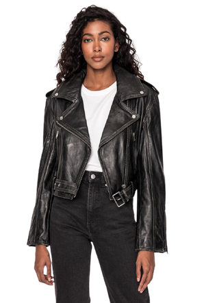 Lamarque- Ford Distress Biker Jacket- Vintage Black