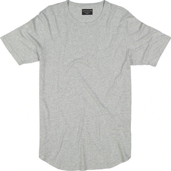Basic s/s Scalloped Crewneck - Light Heather Grey