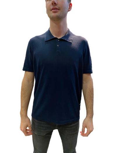 Crepe Cotton Polo-Navy