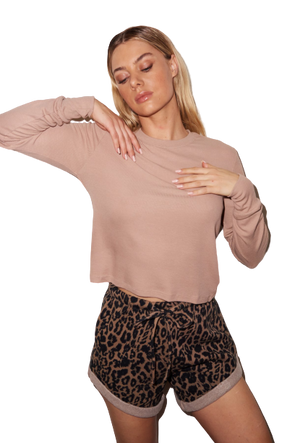 LNA Ribbed Long Sleeve Crew- Nude