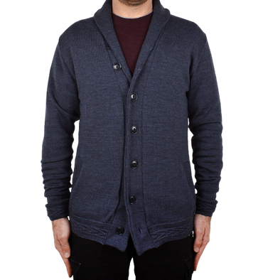 Outclass- Steel Blue Shawl Collar Cardigan