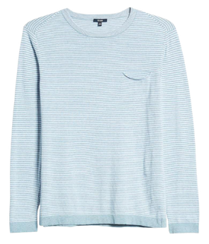 Benson - Cotton Stripe PKT Sweater - Light Blue