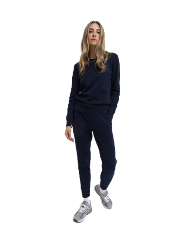 RC Women's Knit Lt Wt Terry Slim Sweatpant- Navy