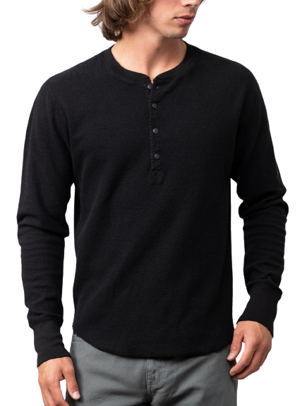 Save Khaki United- L/S Thermal Pointelle Henley - Black