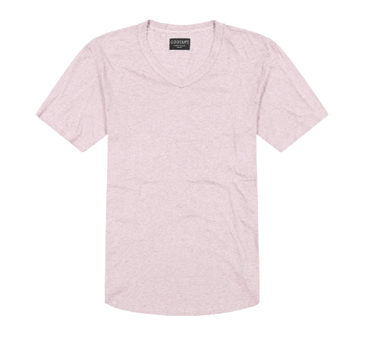 Goodlife - Overdyed Supima Scallop V - Pale Mauve