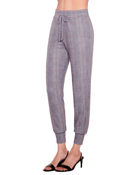 Sundry Glen Plaid Pocket Jogger- Heather Grey
