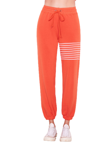 Sundry Leg Stripe Sweatpants- Chili