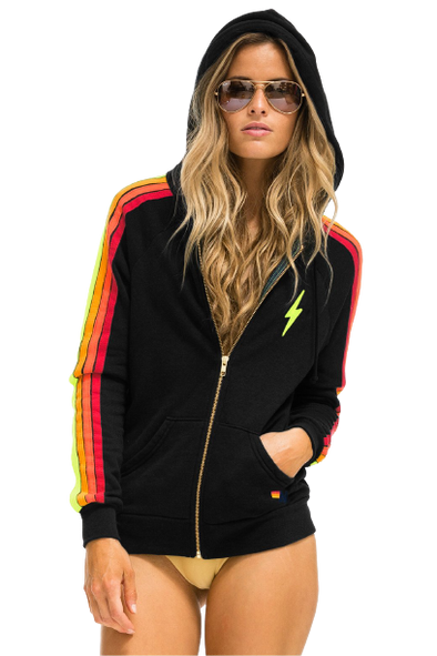 AN Bolt Embroidery Classic 4 Zip Hoodie- Black/Neon