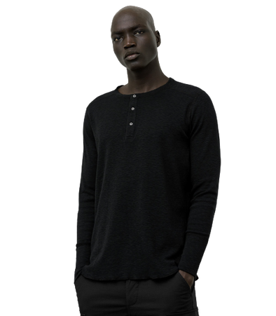 Wings + Horns-1x1 Slub Rib LS Henley - Black