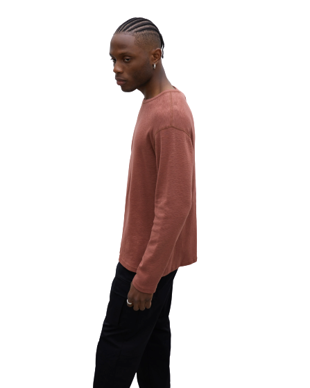 Men's Knit 1X1 Slub Standard Long Sleeve - Clay