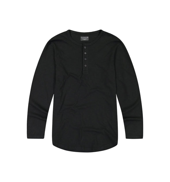 Goodlife - Slub Scallop Henley - Black
