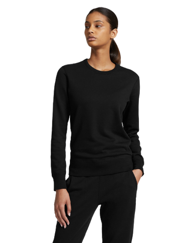 RC Women's Knit Lt Wt Terry LS Crew- Black