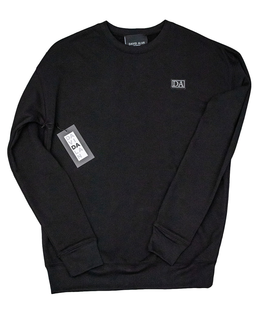 Black Drop Shoulder Long Sleeve Crew Neck