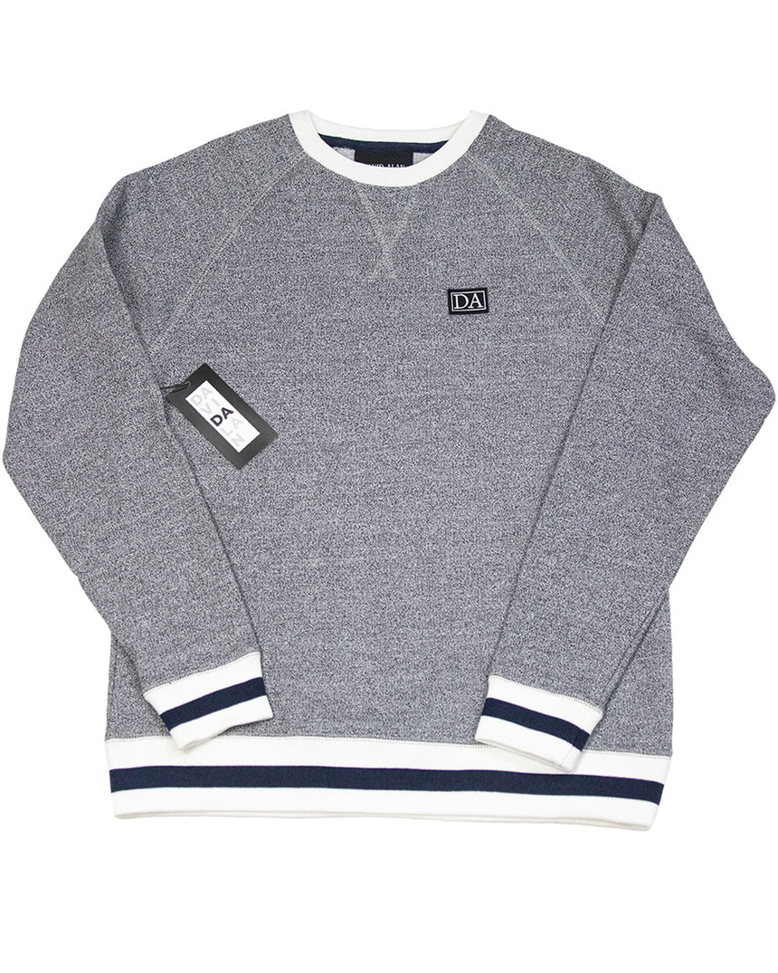 Grey/Navy Drop Shoulder Long Sleeve Crew Neck
