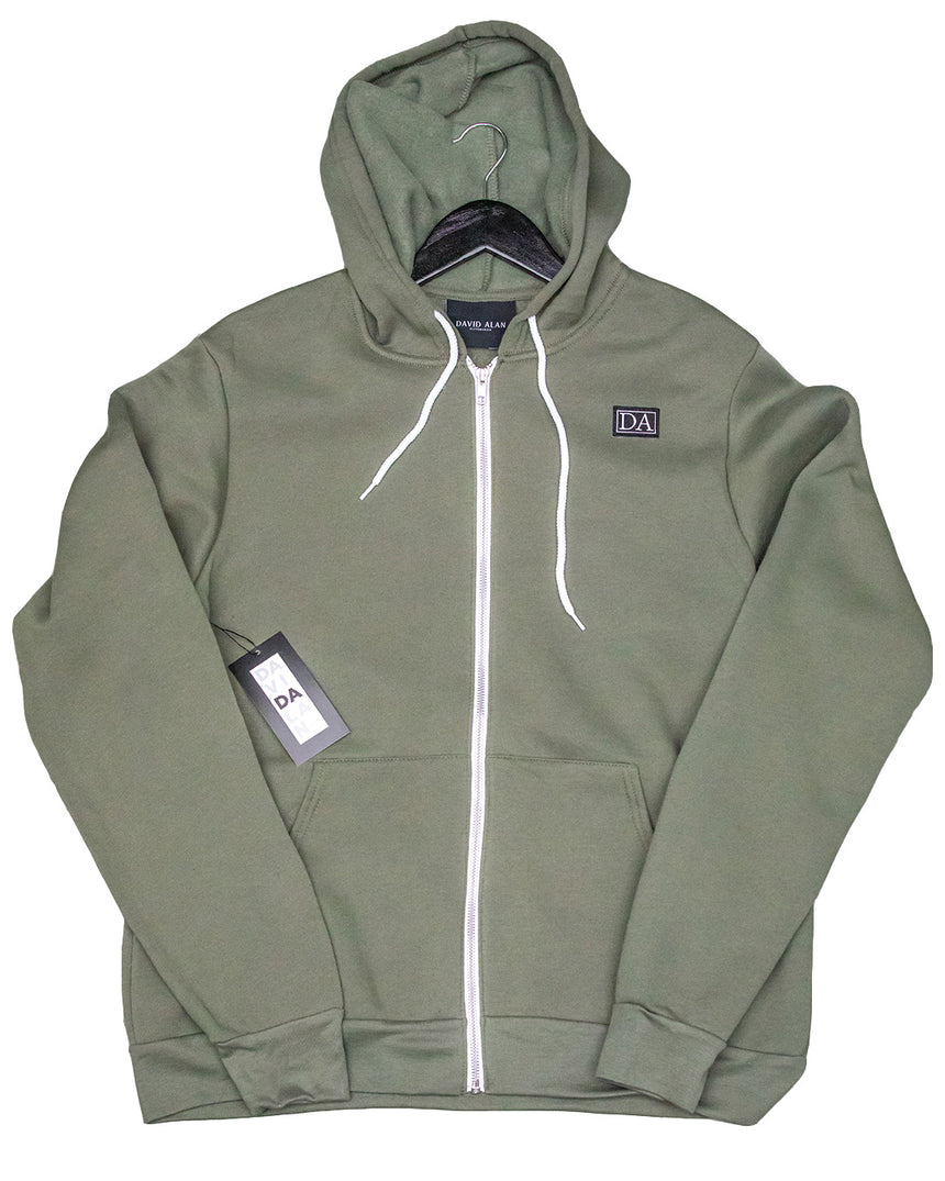 Military Green Uni-sex Sponge Fleece Full-Zip Hoodie