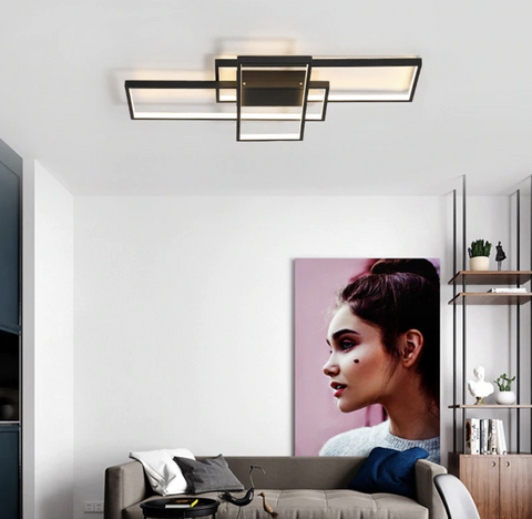 "MODERN MULTI-SQUARE 33 1/2"" TO 55"" WIDE ALUMINUM CEILING LIGHTS"