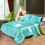 100% Satin Silk Bedding Set Luxury Queen King Size Bed Set Quilt Duvet Cover Linens And Pillowcase - Avenila - Interior Lighting, Design & More