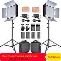 2 Set 600pcs Studio Camera Photo Light 3200K/5500K LED Video Light Kit with 2m Tripod and NP-F550 Batteries - Avenila - Interior Lighting, Design & More